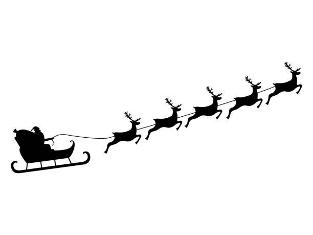santa claus reitet in einem schlitten im kabelbaum auf das rentier - santa stock-grafiken, -clipart, -cartoons und -symbole