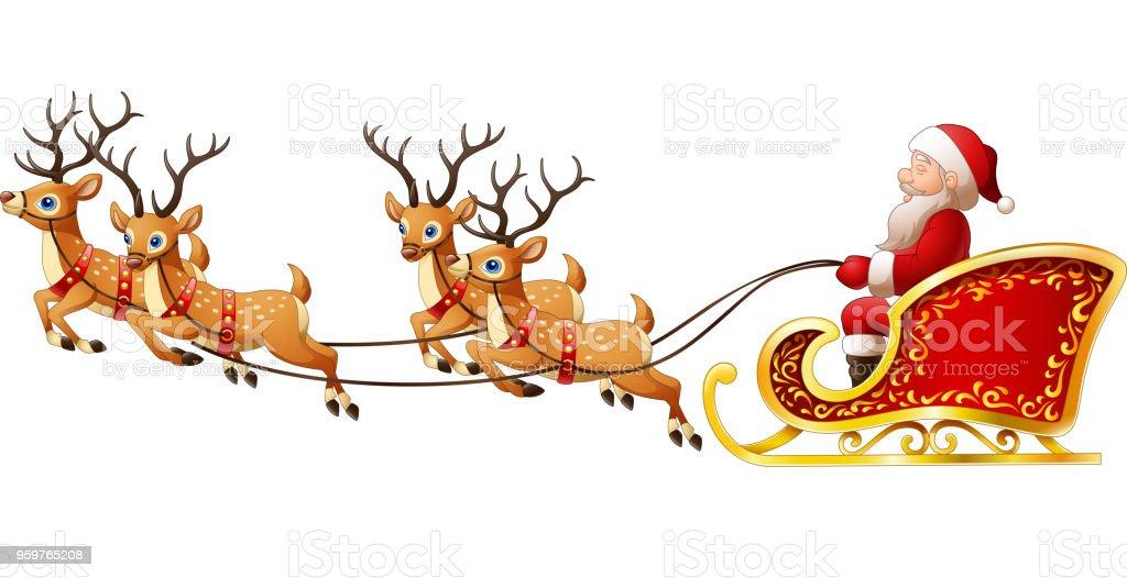 der weihnachtsmann reitet rentierschlitten auf weihnachten