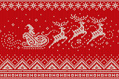 Santa Claus Rides Reindeer Sleigh Silhouette. Christmas Seamless Knitted Pattern. Knitting Wool Sweater Design.