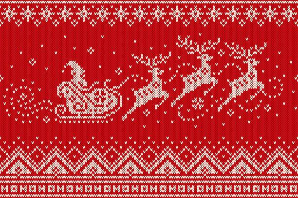 サンタ クロースのトナカイそりシルエットを乗り物。クリスマス シームレス ニット パターン。ウール セーターのデザインを編む - 編む点のイラスト素材/クリップアート素材/マンガ素材/アイコン素材