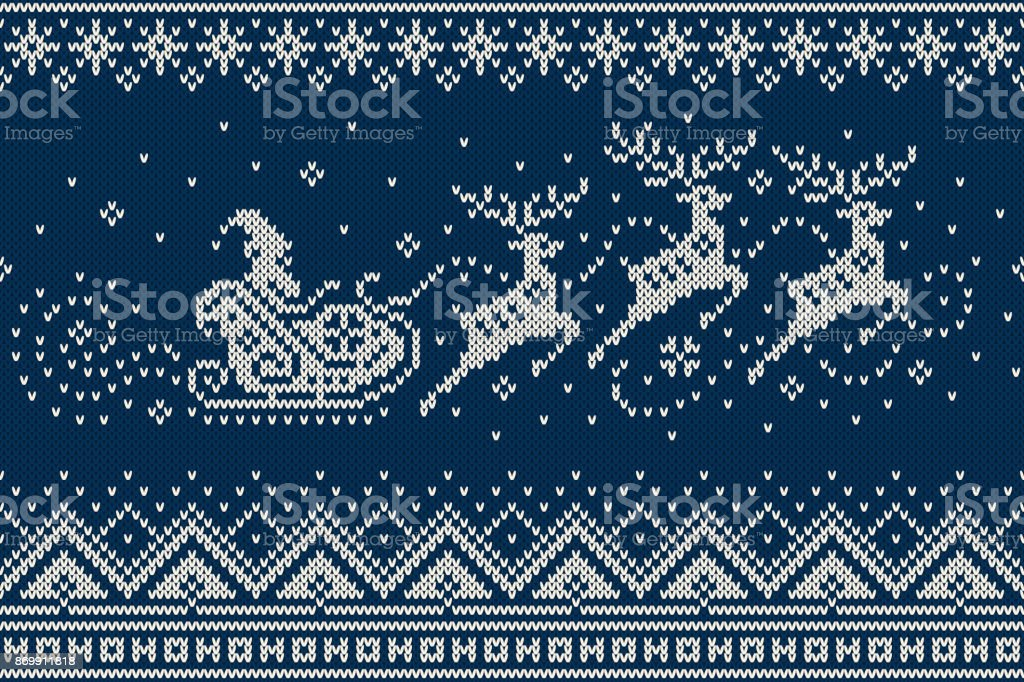 Santa Claus Rides Reindeer Sleigh Silhouette. Winter Holiday Seamless Knitted Pattern. Knitting Wool Sweater Design vector art illustration