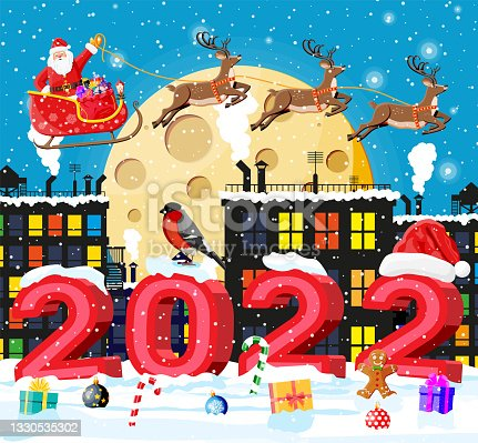 istock Santa Claus Rides Reindeer Sleigh. 1330535302