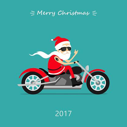 Santa Claus rides the motorcycle. Greeting Christmas card