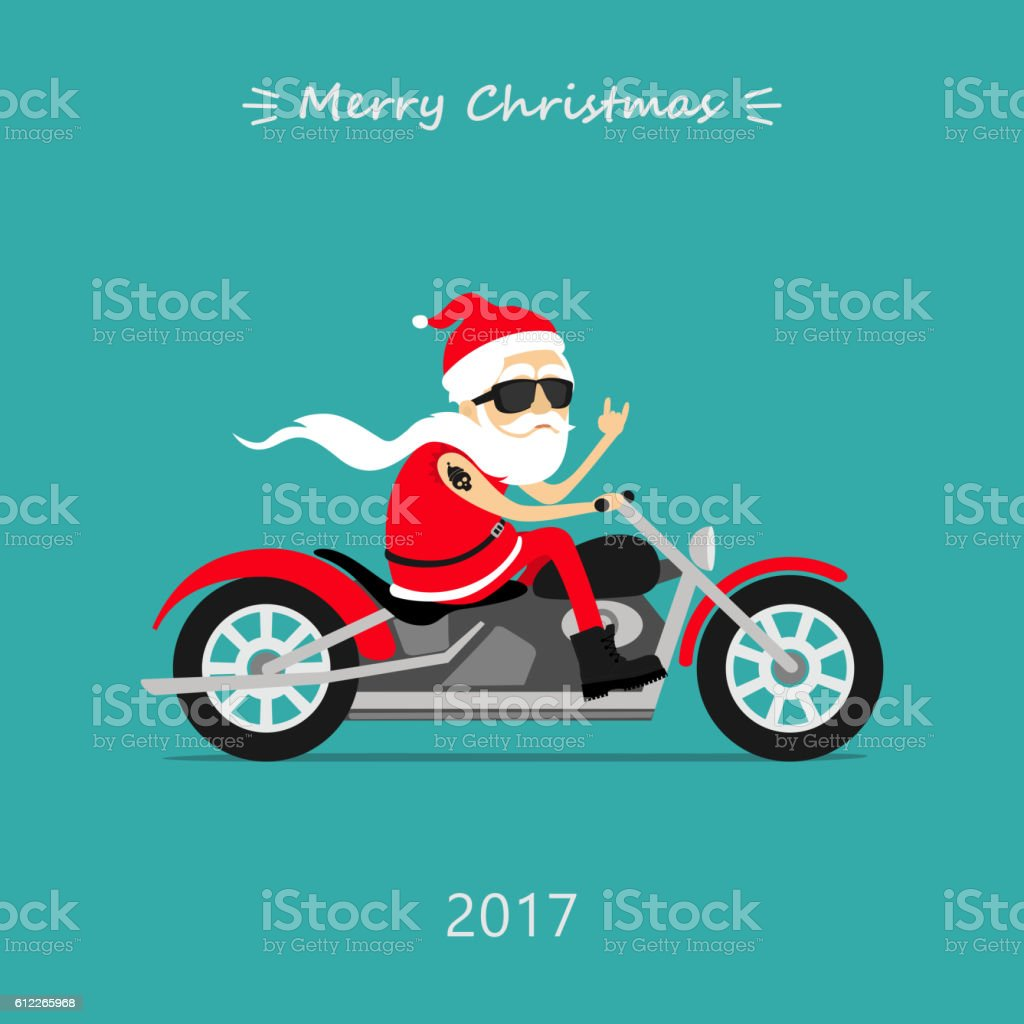 Santa Claus rides the motorcycle. Greeting Christmas card vector art illustration