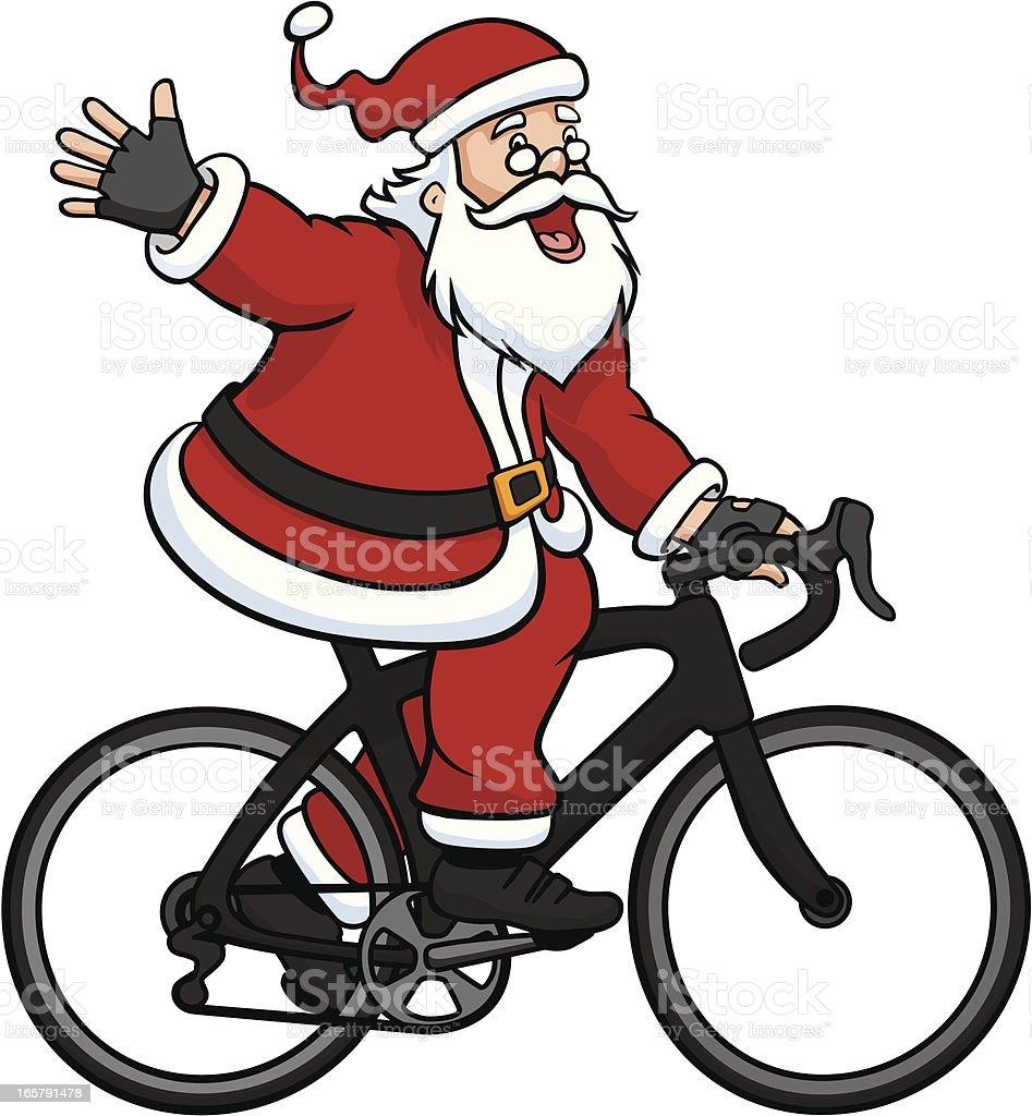 Babbo Natale In Bicicletta.Babbo Natale Guida Su Una Bici Da Corsa Immagini Vettoriali Stock