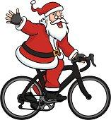 Vector illustration of Santa Claus riding a road bike while waving and saying hello.