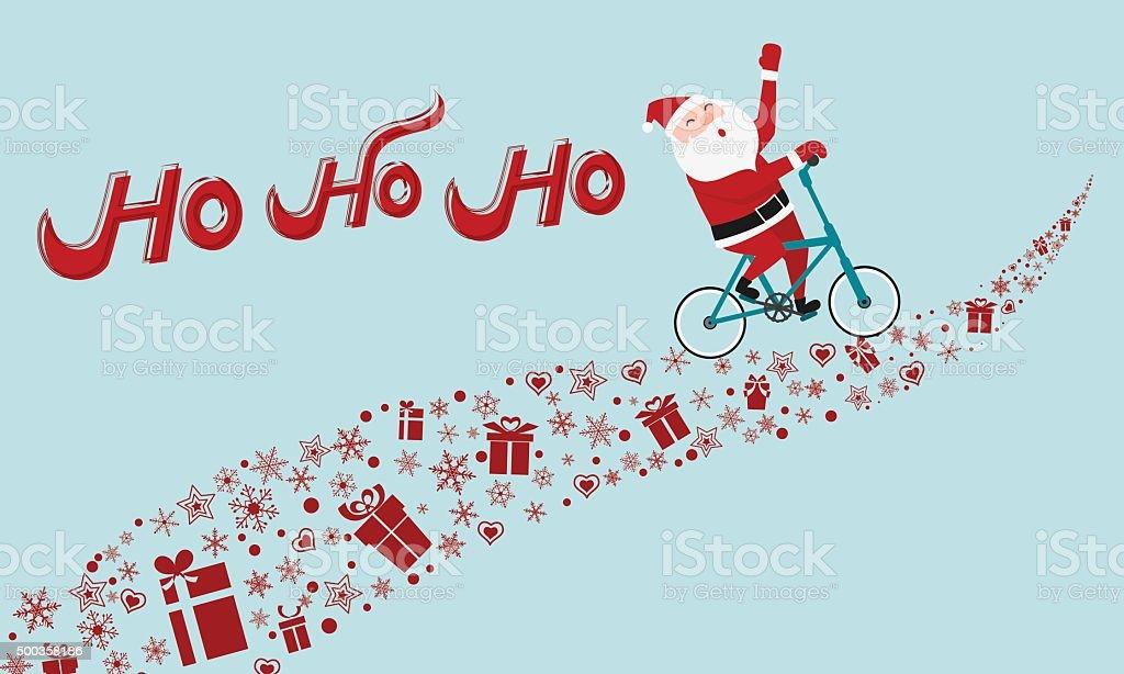 santa claus riding bicycle on gift way ho ho ho merry christmas - Hohoho Merry Christmas