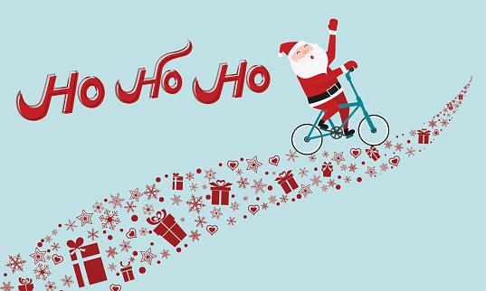 Santa Claus riding bicycle on gift way. HO-HO-HO Merry Christmas.