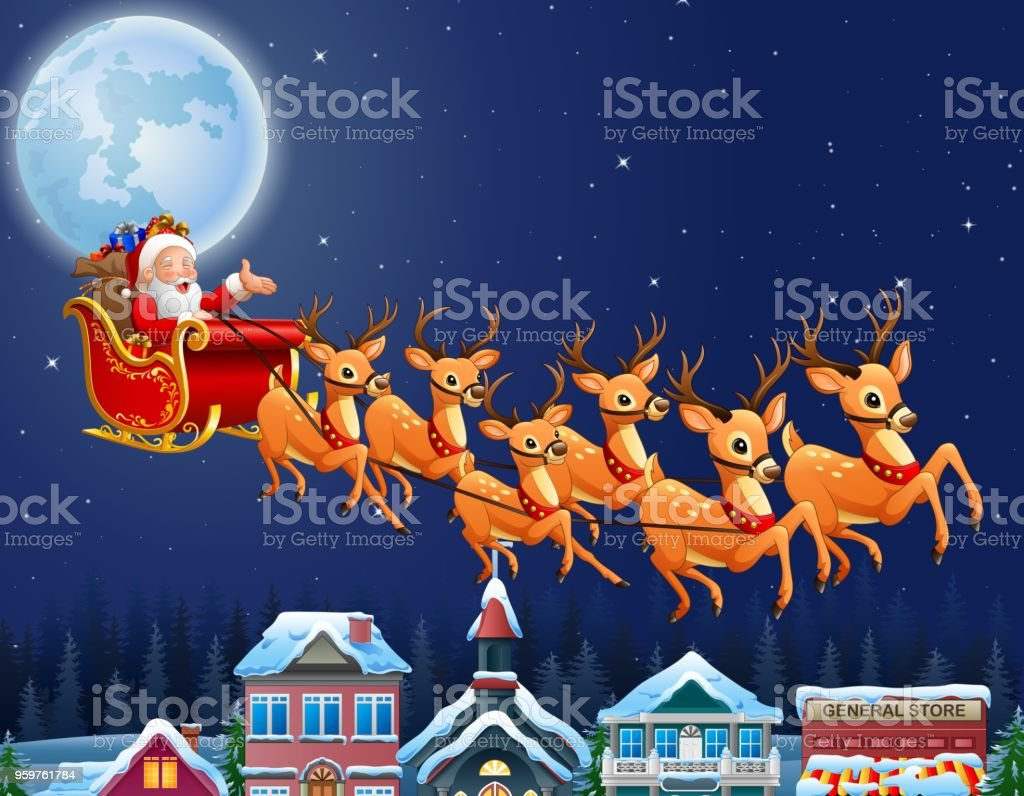 santa claus riding his reindeer sleigh flying over town stock vector