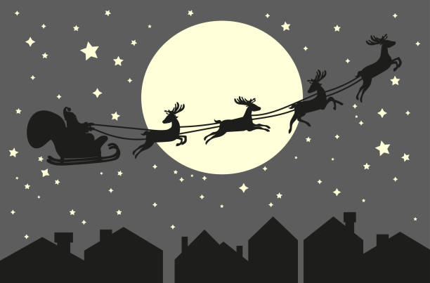 Santa Claus riding in a sleigh Santa Claus riding in a sleigh with harness on the reindeer on the urban city backgorund. Roofs and sky with moon background. Vector illustration black white snow scene silhouette stock illustrations