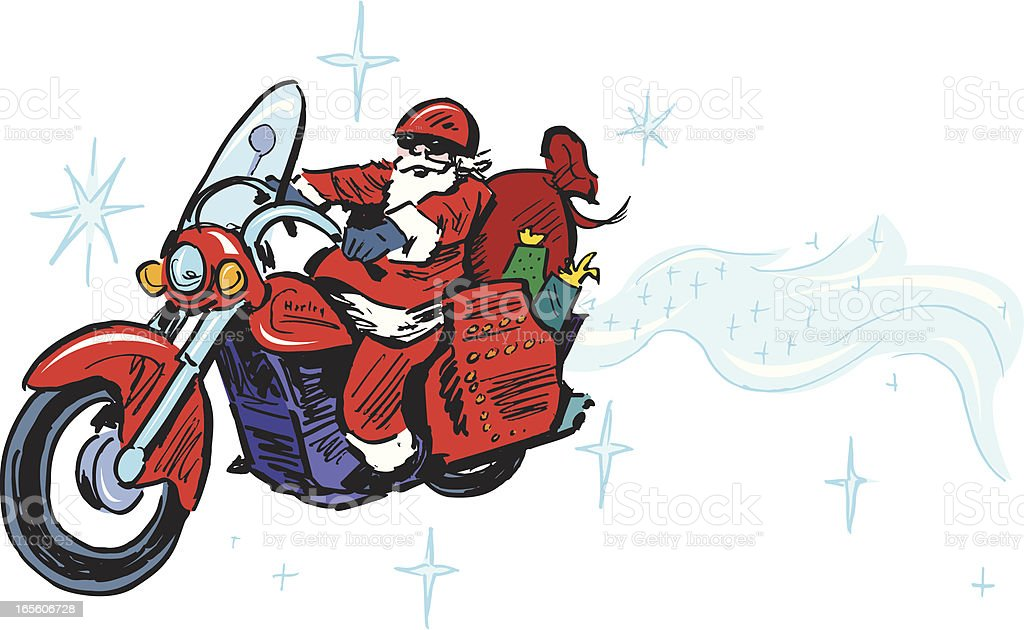 Santa Claus Riding Motorcycle - Christmas royalty-free stock vector art