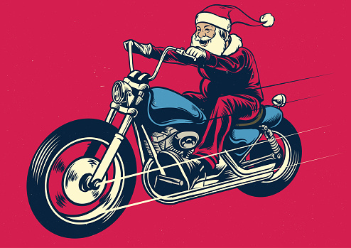 Santa claus riding motorcycle