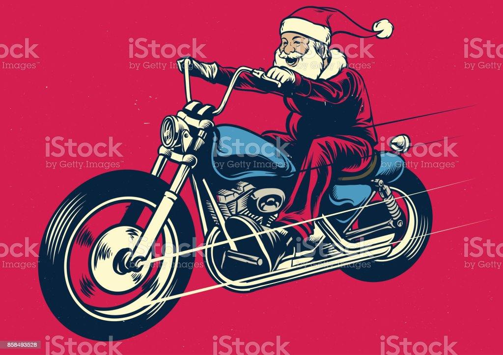 Santa claus riding motorcycle vector art illustration