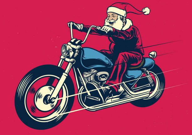 santa claus riding motorcycle - motorcycle stock illustrations, clip art, cartoons, & icons