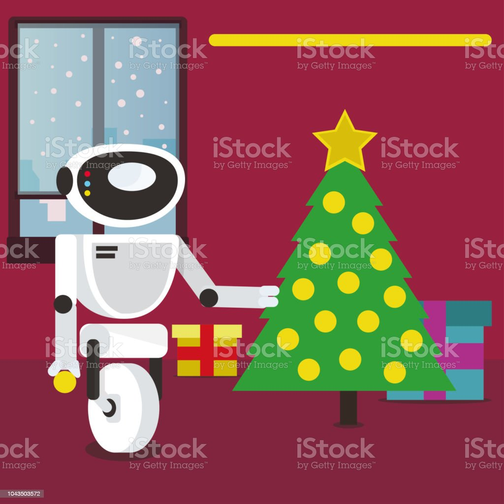 Santa Claus Robot decorating Christmas tree at home. vector art illustration