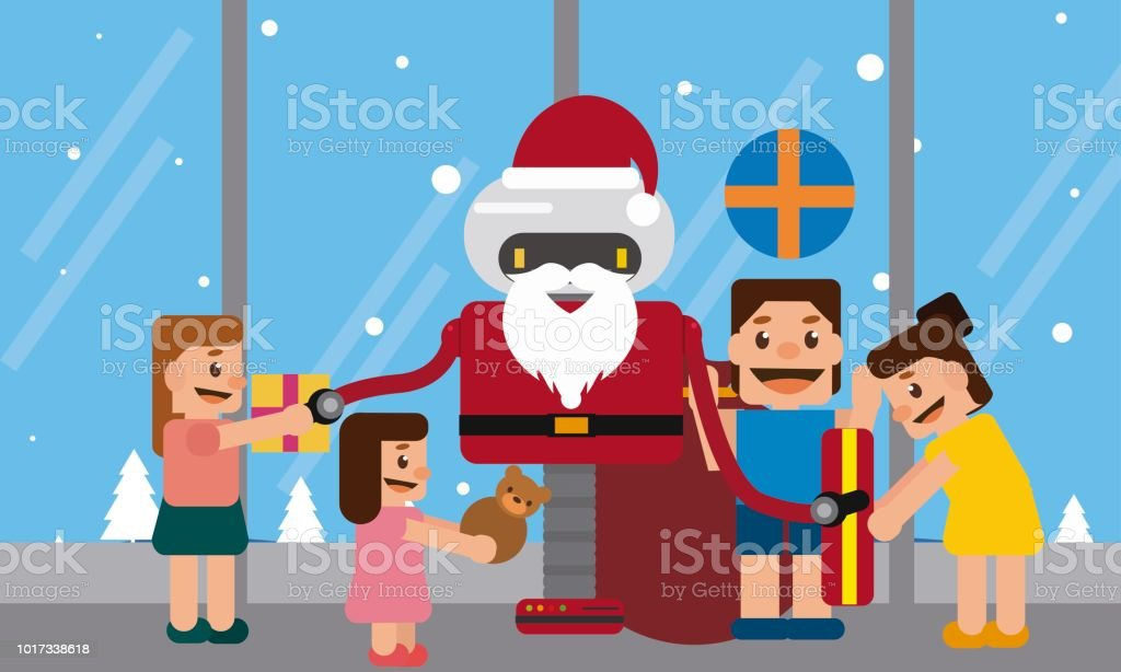 Santa Claus Robot giving gifts to children in a shopping mall. vector art illustration