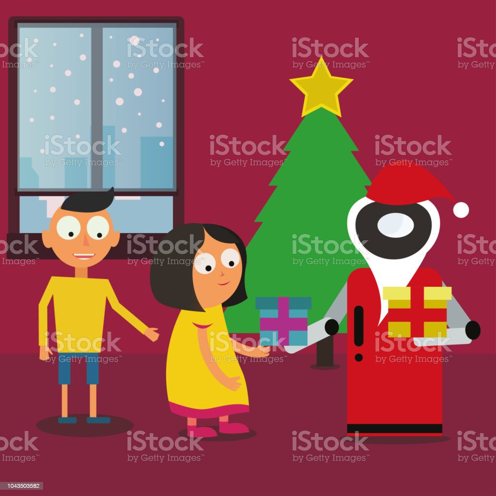 Santa Claus Robot giving gifts to children near the Christmas tree at home. vector art illustration