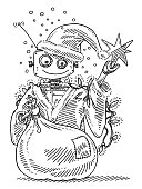 Santa Claus Robot Holding A Sack Drawing