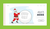 Santa Claus Rolling Huge Snowball Christmas Sale Typography Landing Page Template. Xmas Character with Advertising for Store, Shop or Market Discount, Price Off. Linear People Vector Illustration