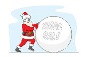 Santa Claus Rolling Huge Snowball Christmas Sale Typography. Xmas Character in Red Festive Costume with Advertising for Store, Shop or Market Discount, Price Off. Linear People Vector Illustration