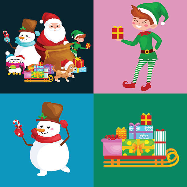 Santa Claus sack full of gifts, snowman candy, decoration ribbons Santa Claus sack full of gifts,angel wings magic wand star, snowman candy, decoration ribbons balls birds, pet dog gifts in sleigh, penguins elf Vector illustration Merry Christmas and Happy New Year formal glove stock illustrations