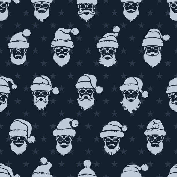 santa claus nahtlose muster - markenbrillen stock-grafiken, -clipart, -cartoons und -symbole