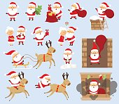 Santa Claus Christmas set. Santa Claus ride on reindeer, sleigh, run with bag, give gift box, fall down the chimney, hold Christmas tree, kiss his wife Mrs. Santa Claus. Christmas character design