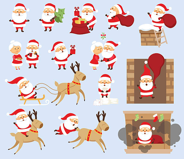santa claus set - reindeer stock illustrations