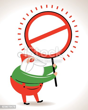 Santa Claus showing a empty prohibition sign