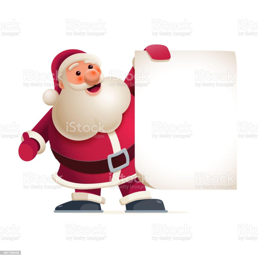 Santa Claus showing banner vector art illustration