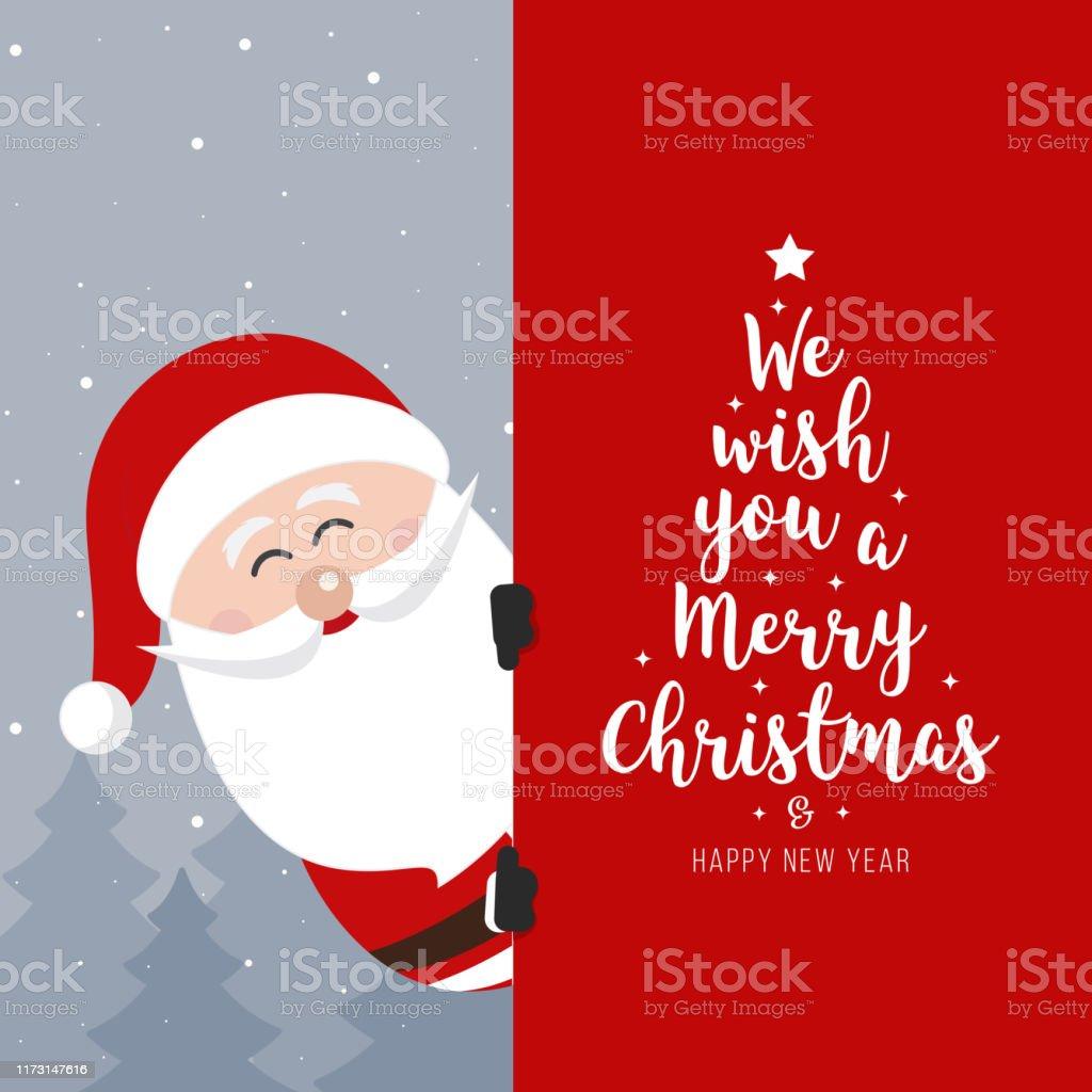 Cartello di Babbo Natale. Buon Natale e Felice Capodanno Biglietto di auguri per le vacanze - arte vettoriale royalty-free di Albero
