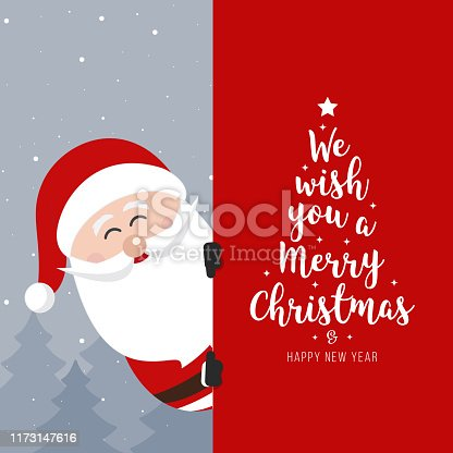 Santa Claus signboard. Merry Christmas and Happy New Year Holiday greeting card
