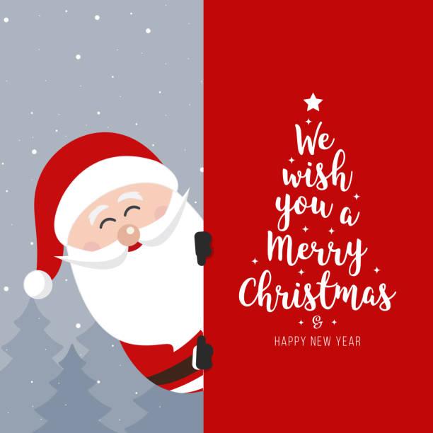 weihnachtsmann-schild. frohe weihnachten und frohe weihnachten urlaub grußkarte - santa stock-grafiken, -clipart, -cartoons und -symbole