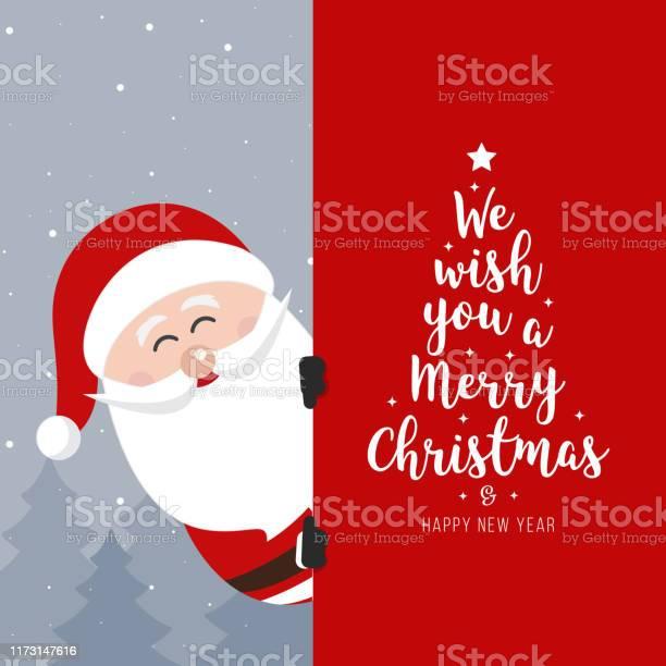 Cartello Di Babbo Natale Buon Natale E Felice Capodanno Biglietto Di Auguri Per Le Vacanze - Immagini vettoriali stock e altre immagini di Albero