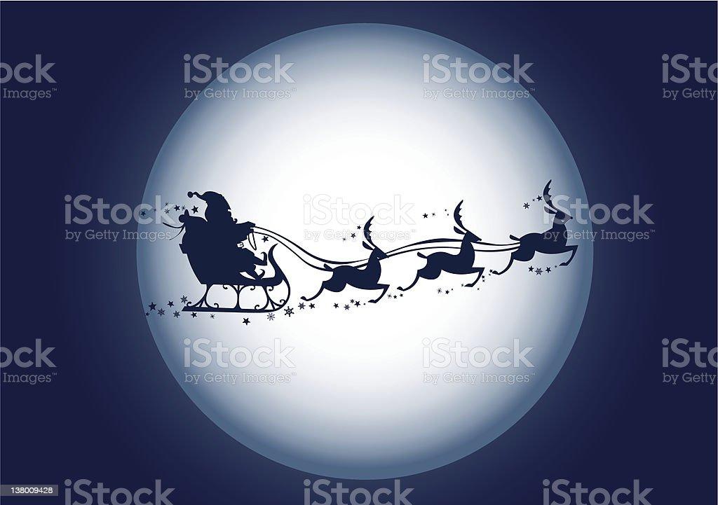 silhouette di Babbo Natale e renne e slitta - illustrazione arte vettoriale