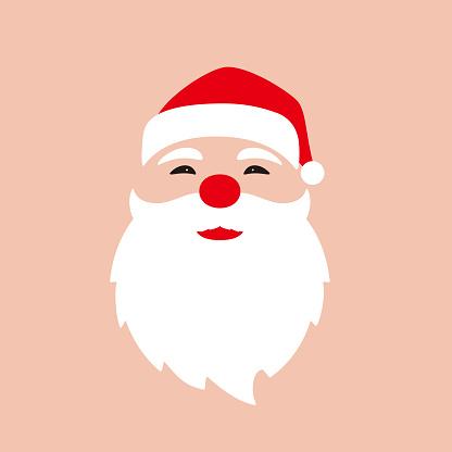 Santa Claus, simple Christmas element flat design, vector illustration