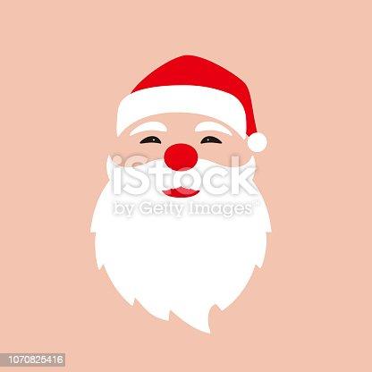 Santa Claus face flat design vector illustration