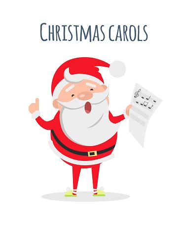 Santa Claus Sing Xmas Carols. Singer Actor