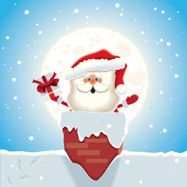 santa claus singen weihnachtslied und aktien geschenke durch den schornstein. - kaminverkleidungen stock-grafiken, -clipart, -cartoons und -symbole