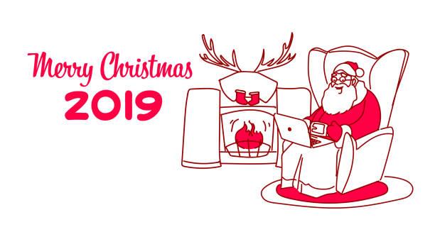 santa claus sitzen sessel in der nähe von kamin frohe weihnachten frohes neues jahr grußkarte winter urlaub konzept skizze doodle horizontal - kaminverkleidungen stock-grafiken, -clipart, -cartoons und -symbole