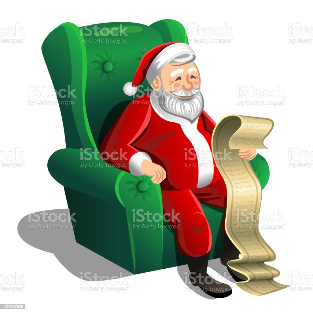 Santa claus sitting in armchair and reading christmas letter or wish santa claus sitting in armchair and reading christmas letter or wish list vector christmas scene spiritdancerdesigns Gallery