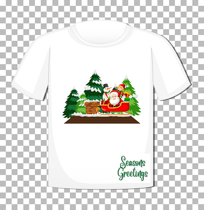 Santa Claus sitting in sleigh cartoon character in Christmas theme on t-shirt on transparent background