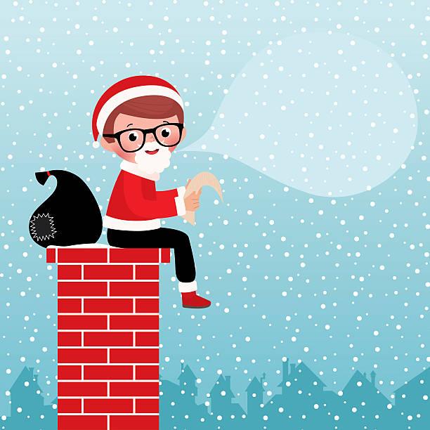weihnachtsmann sitzt auf einem kamin - kaminverkleidungen stock-grafiken, -clipart, -cartoons und -symbole