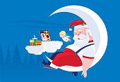 istock Santa Claus sitting on crescent moon and sleeping 1276600214
