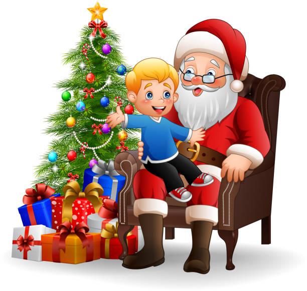 santa claus mit einem kleinen niedlichen jungen sitzen - kaminverkleidungen stock-grafiken, -clipart, -cartoons und -symbole