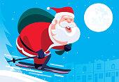 vector illustration of Santa Claus skiing at night