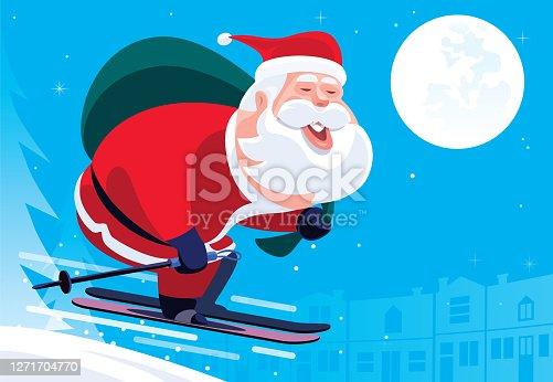 istock Santa Claus skiing at night 1271704770