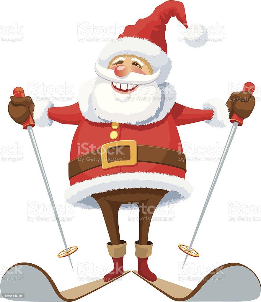 Santa Claus skiing vector art illustration