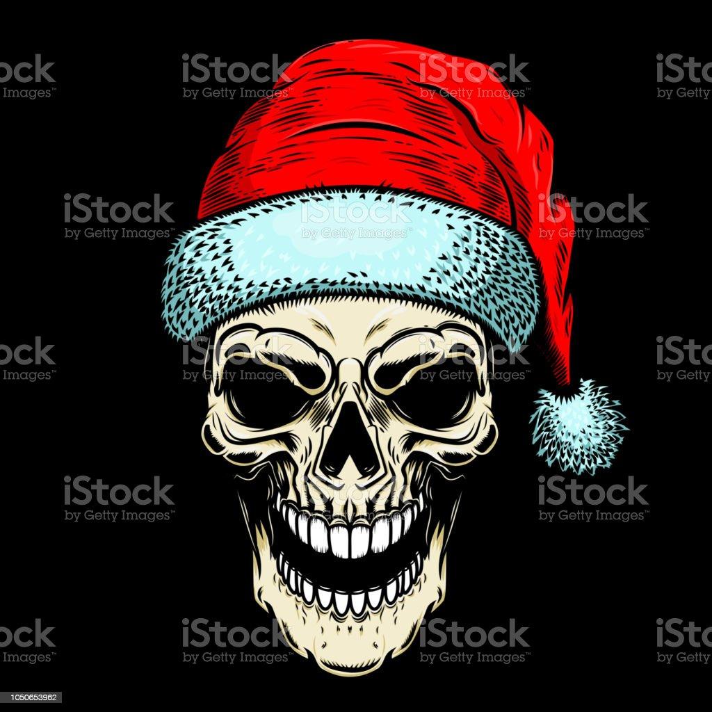 Santa Claus Schädel Auf Schwarzem Hintergrund Thema Weihnachten ...