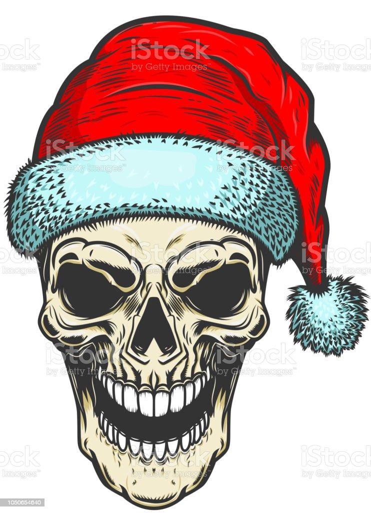Santa Claus Schädel Auf Weißem Hintergrund Thema Weihnachten ...